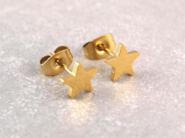 Edelstahl Stern gold 7 mm