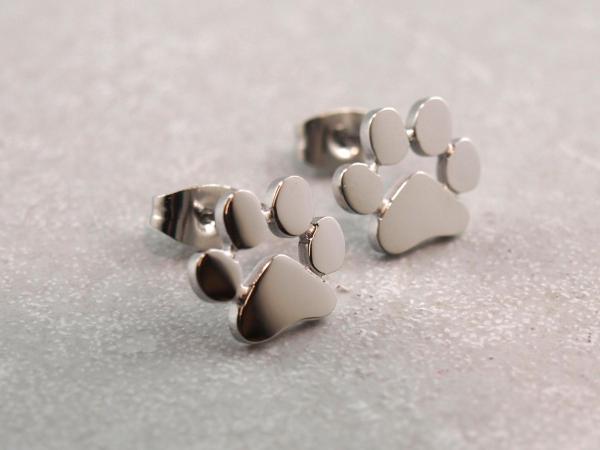 Edelstahlohrringe Hundepfote Silber