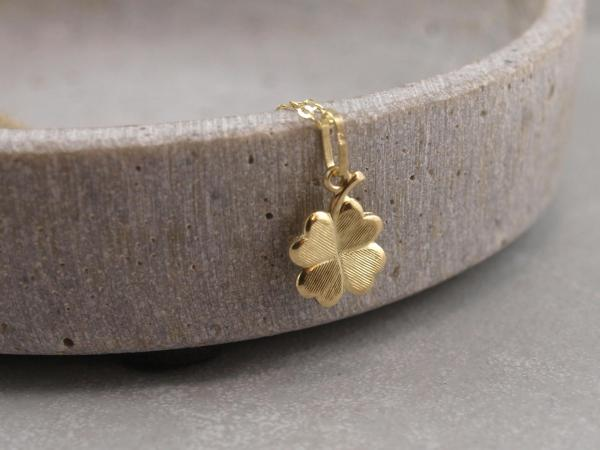 Goldenes Kleeblatt aus echtem 333er Gold, Gluecksbringer