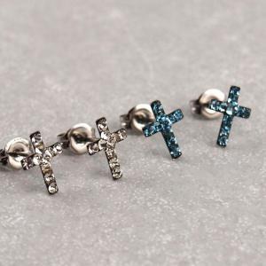 Hypoallergener Ohrstecker Kreuz kristall und hellblau