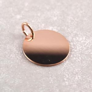 Rosegoldener Anhanger 16 mm rund, Silber verrosegoldet