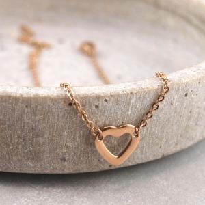 Fusskette eingefasstes Herz, Chirurgenstahl, Groessenverstellbar, rosegold