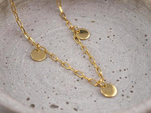 Gliederkette mit wählbaren Anhaengern, 8 mm, Gold