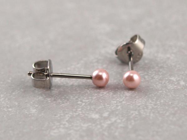 Hypoallergener Perlenohrring rosa, viele Groessen, Chirurgenstahl, Allergiker geeignet 3 mm