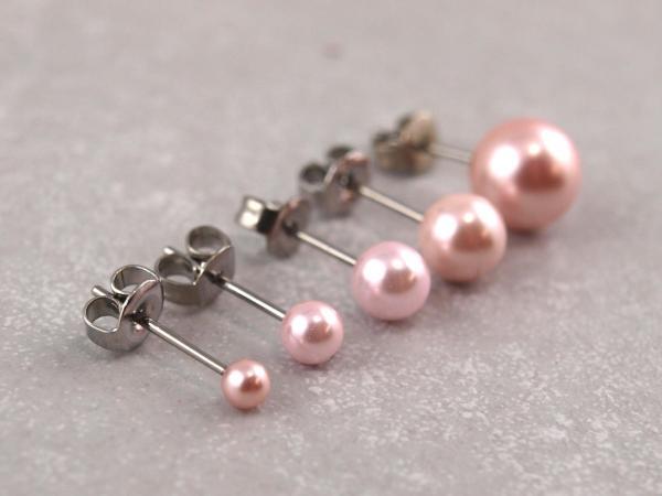 Hypoallergener Perlenohrring rosa, viele Groessen, Chirurgenstahl, Allergiker geeignet