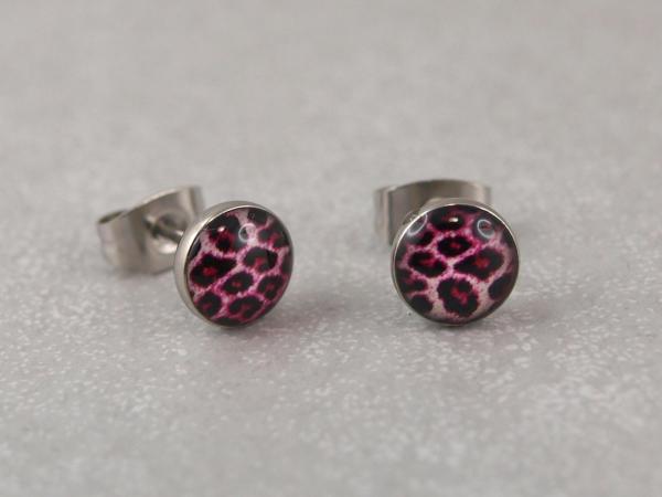 Leopardohrring Chirurgenstahl antiallergisch viele Farben pink
