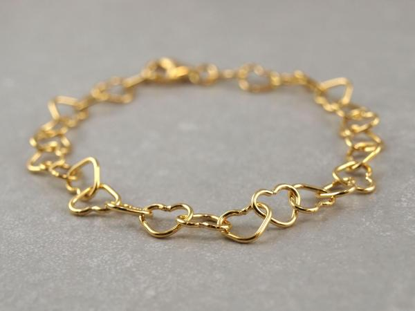 Silberarmband aus verschlungenen Herzchen, 19 cm, vergoldet