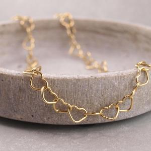 Silberarmband oder Collier aus verschlungenen Herzchen, vergoldet (2)