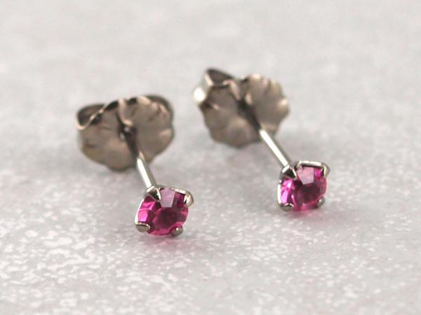 Titanohrstecker Ohrring antiallergisch nickelfrei viele Farben 3 mm rosa