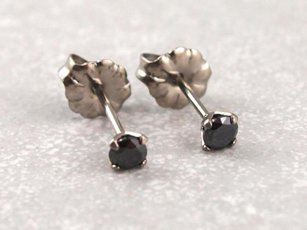 Titanohrstecker Ohrring antiallergisch nickelfrei viele Farben 3 mm schwarz