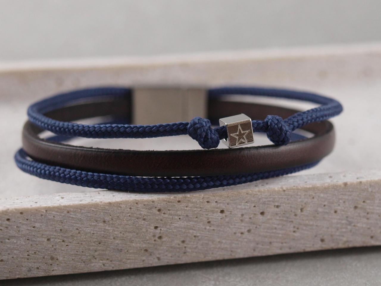 Armband Taylor aus Leder und Segeltau mit Gravur-Option auf Verschluss und Würfel
