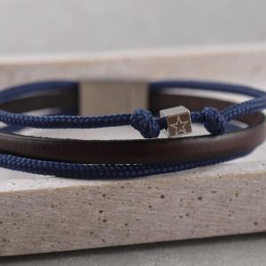 Armband Taylor aus Leder und Segeltau mit Knoten und Wuerfel, gravierbar