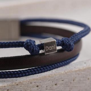 Armband Taylor aus Leder und Segeltau mit Knoten und Wuerfel, gravierbar_