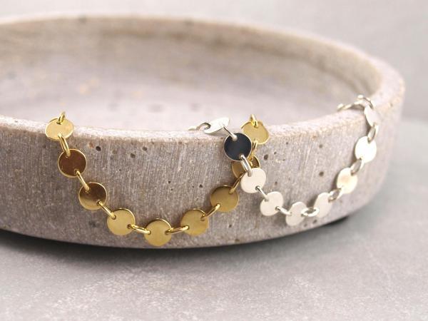Armband aus 5 mm Plaettchen, Dots, Silber Vergoldet, Groessenverstellbar (2)