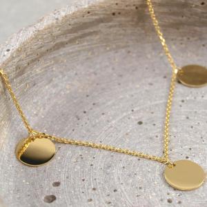Armband mit drei runden Anhängern, 10 mm, Silber vergoldet (2)
