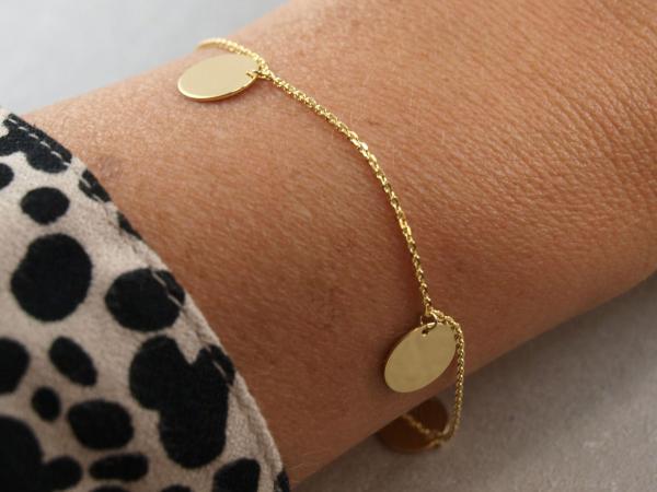 Armband mit drei runden Anhängern, 10 mm, Silber vergoldet