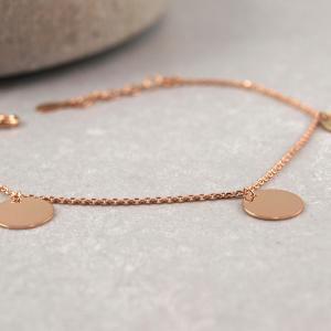 Armband mit drei runden Anhängern, 10 mm, Silber verrosegoldet