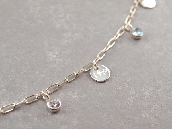 Gliederkette, Armband oder Fusskettchen, Silber, wählen Sie die Länge u. Gravuranhaenger