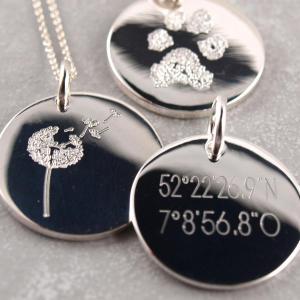 Gravuranhaenger echt Silber 19 mm