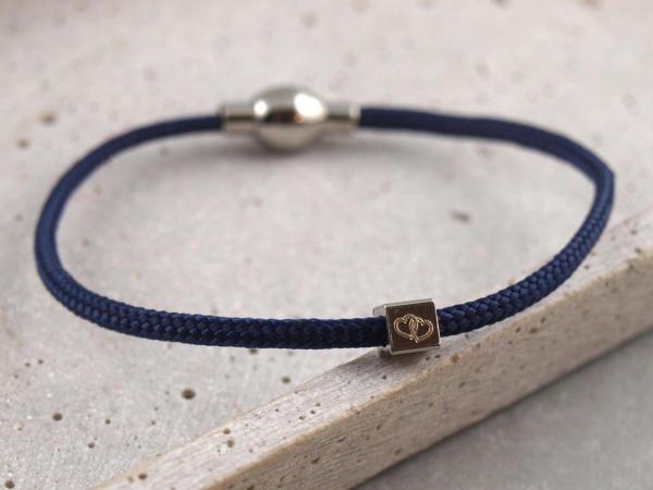 Segeltau Armband Kaya mit kleinem Würfel dunkelblau
