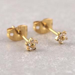 Titan Ohrstecker kleine Kristall Blume gold