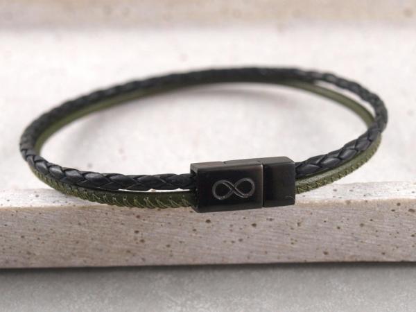 Lederarmband Jona multicolor grün schwarz mit schwarzem Magnet