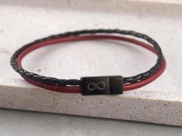 Lederarmband Jona multicolor rot schwarz mit schwarzem Magnet