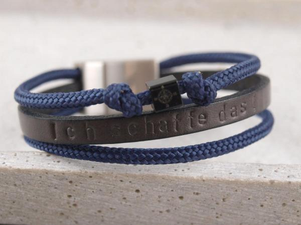 Lederarmband Kombi Segeltau Taylor dunkelgrau blau mit schwarzem Würfel
