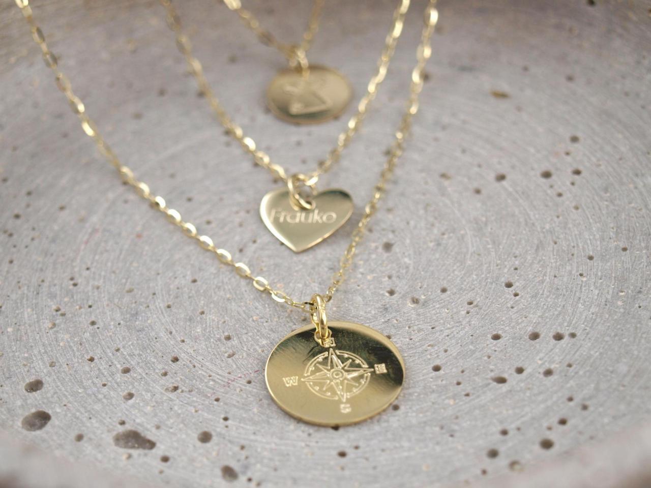 Echt goldene Ketten mit Gravur Anhaenger Kompass Herz