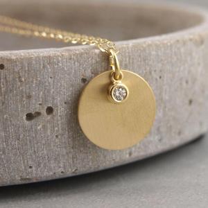 Gravuranhaenger mit kleinem Zirkonstein Silber mattiert vergoldet