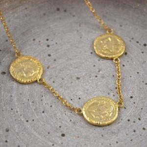 Muenzkette mit drei Muenzen, alte Optik, Silber 925er vergoldet