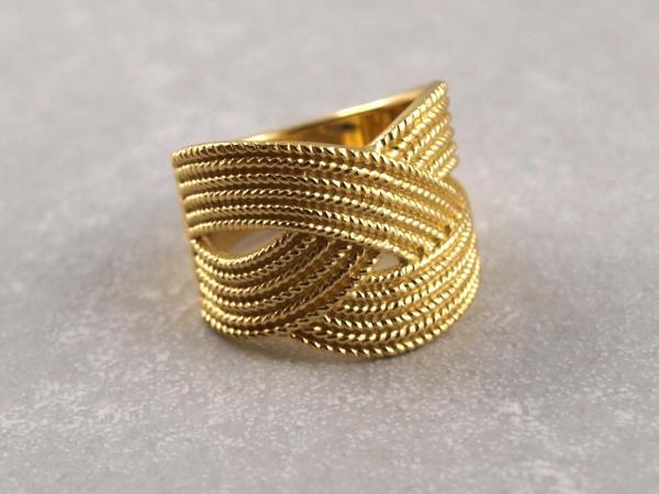 Ring in Flechtoptik Silber vergoldet