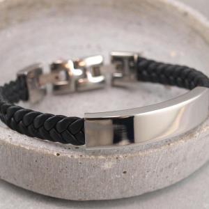 Armband aus Lederimitat Schild und Schließe aus Edelstahl, gravierbar, Größe verstellbar