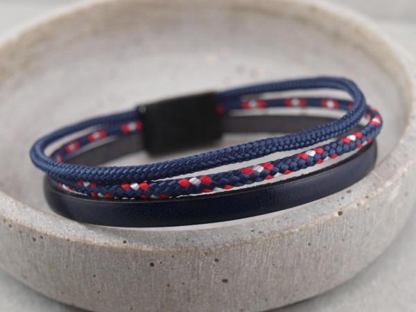 Charlie Segeltau-Edition, Gravur auf dem Magnet und Stempelung auf Leder moeglich, Blau