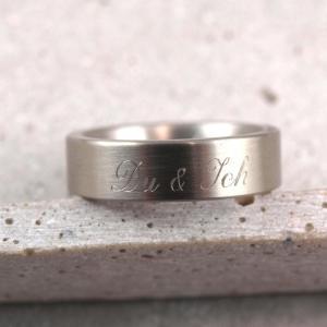 Freundschaftsring Verlobungsring mit individueller Gravur aus Edelstahl romantische Geschenkidee Gravur aussen